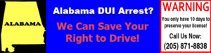Call Polson and Polson after your Alabama DUI and save your right to drive- state of Alabama outline