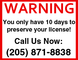 Alabama DUI 10 day warning